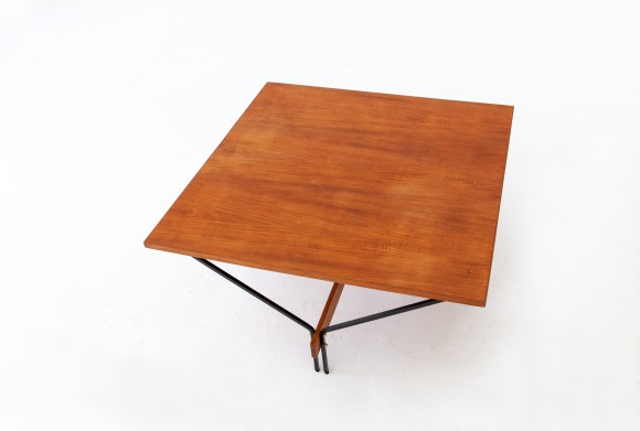 Italian teak and iron square coffee table T78
