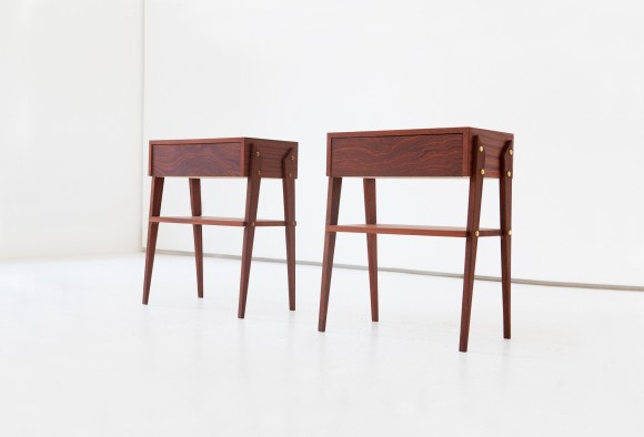 Pair of Italian Mahogany Wood Bedside Tables, 1950s  BT74 – NOT AVAILABLE
