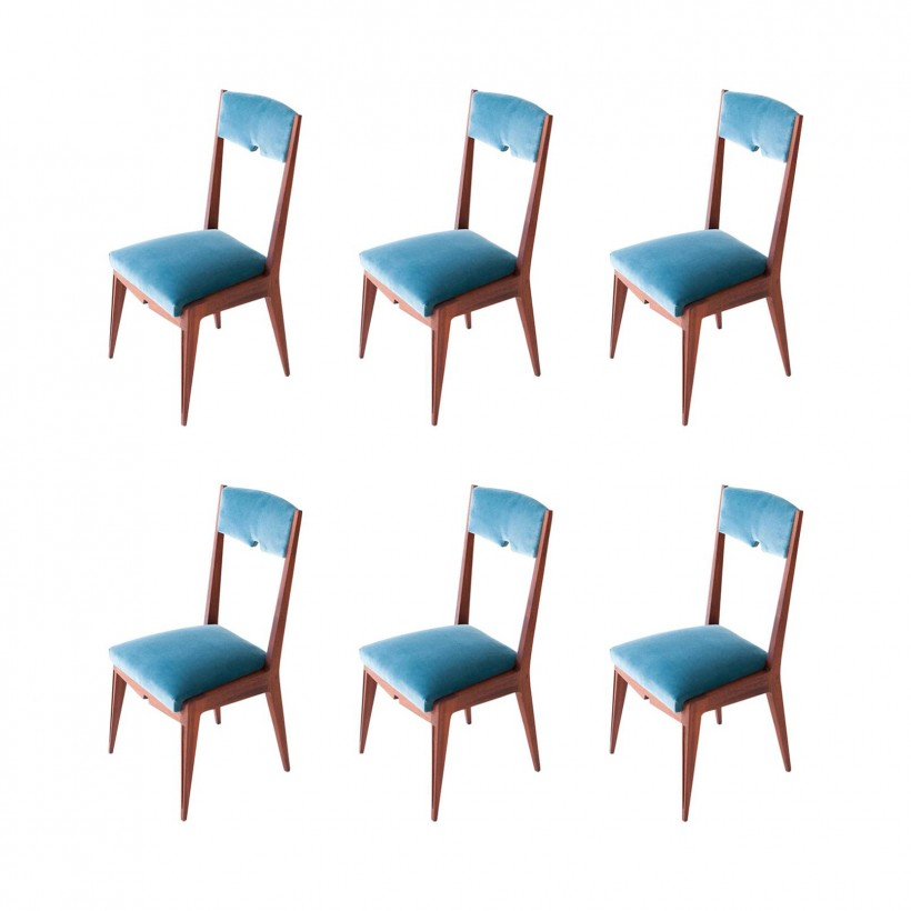 Set of Six Italian Velvet and Mahogany Dining Chairs SE250