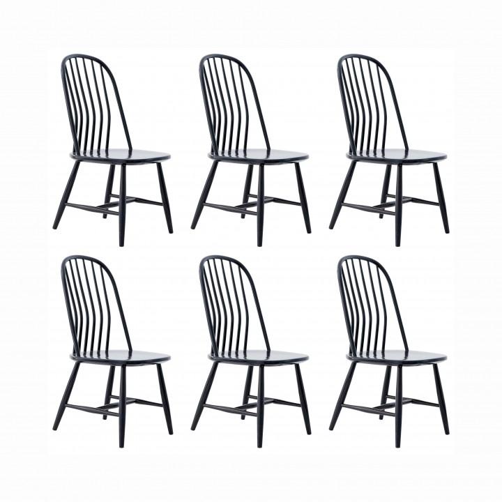Six Swedish Black Dining Chairs by Bengt Akerblom and G. Eklöf, Sweden SE254