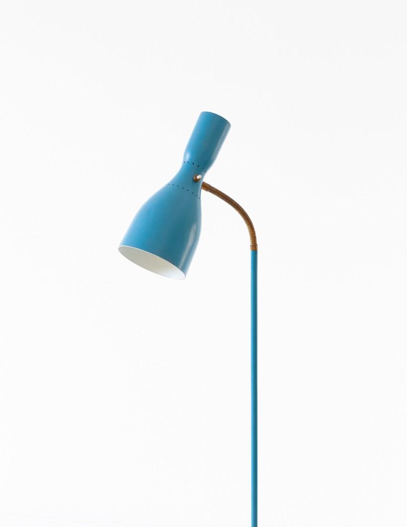 Italian Blue and Brass Tripod Floor Lamp, 1950s  L79