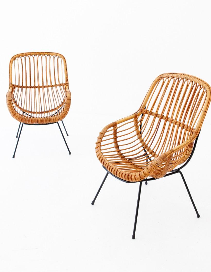 1950s , Italian Rattan and Wicker Lounge Chairs SE282