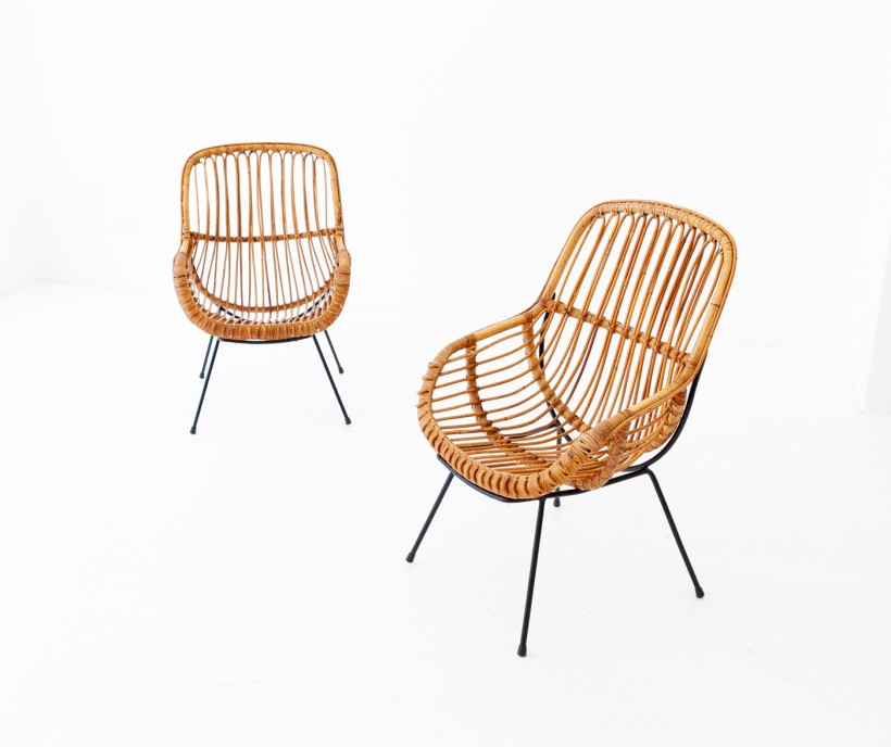 1950s , Italian Rattan and Wicker Lounge Chairs SE282