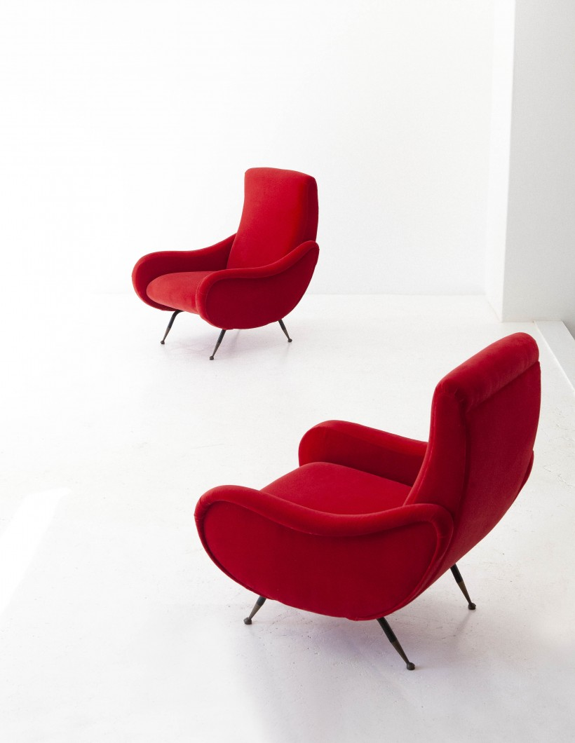 1950s , Italian Red Velvet and Brass Lounge Chairs  SE283