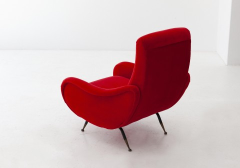 1950s , Italian Red Velvet and Brass Lounge Chair  SE283 – Not Available
