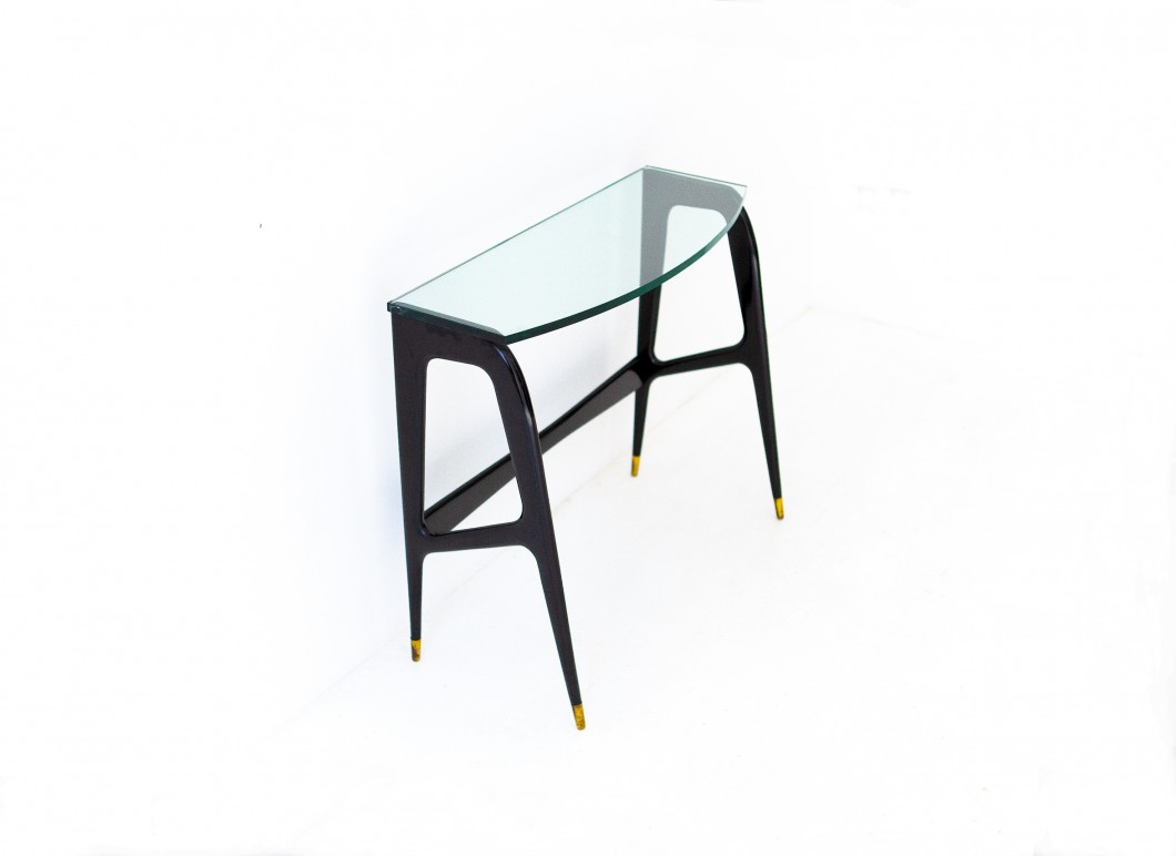 Italian Black Lacquered Wood and Glass Console OF87 – Not available..