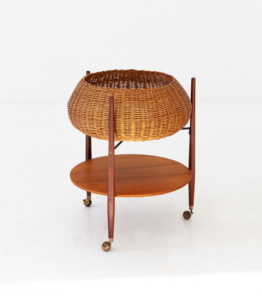 Italian Teak and Wicker Service Cart, 1950s  OF84 – Not available..
