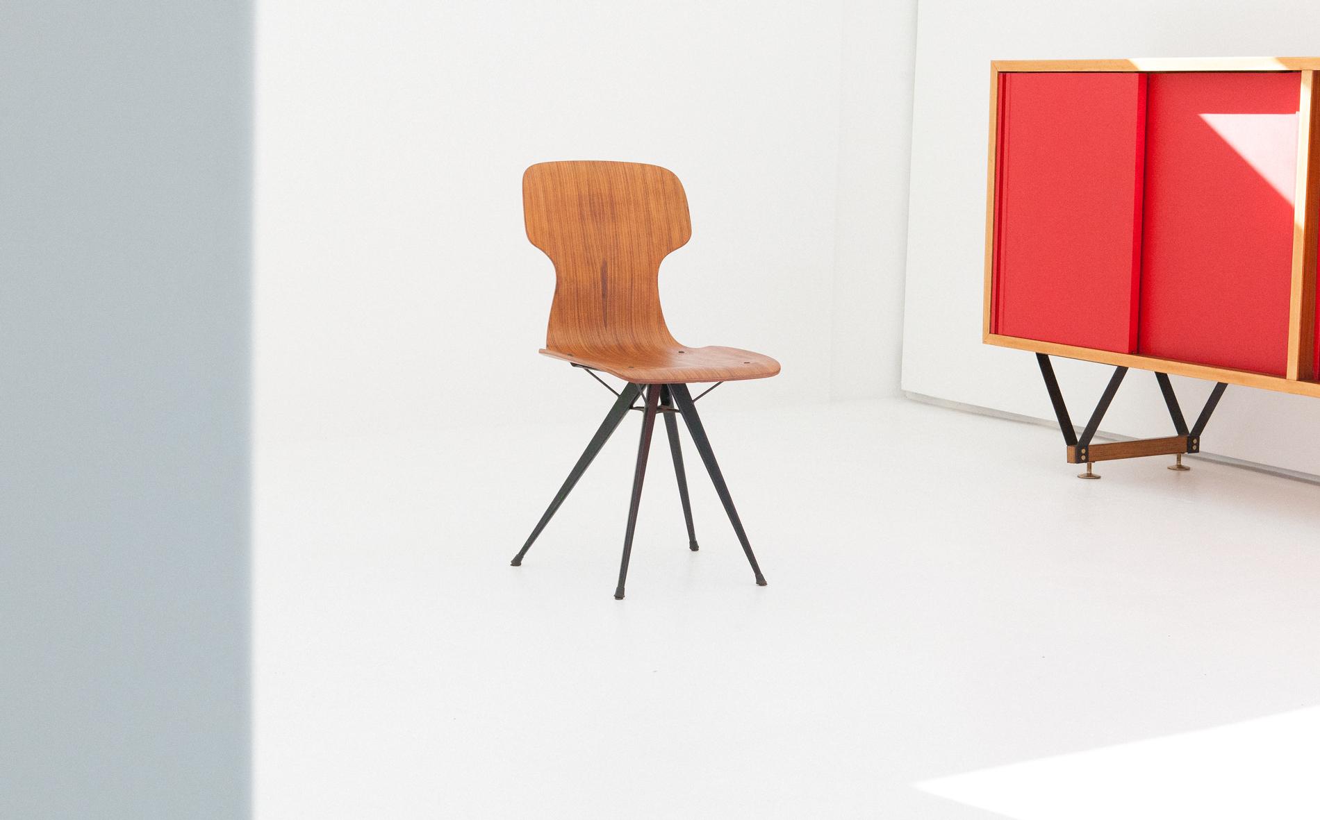 italian-curved-teak-conical-iron-legs-chair-SE284