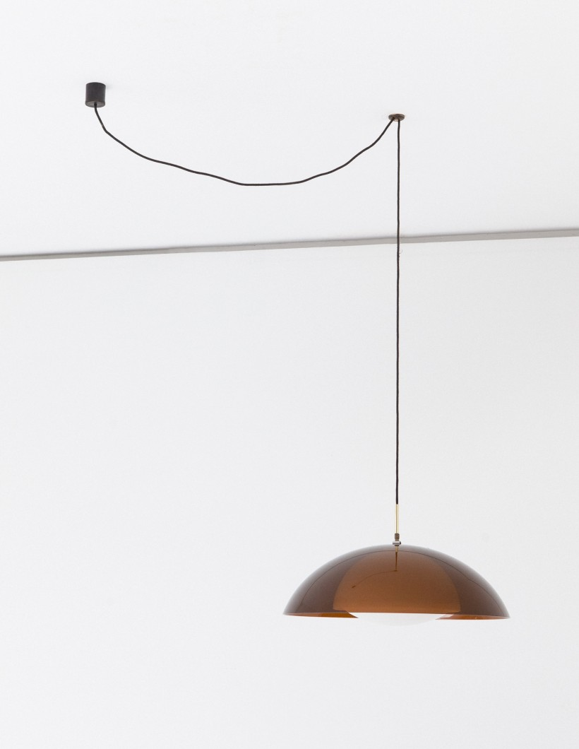 Stilux Milano Dome Perspex and Brass Pendant Chandelier, 1960s