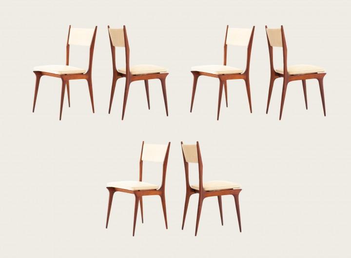Set of Six Italian Mahogany and Beige Skai Dining Chairs SE281 – No longer available..