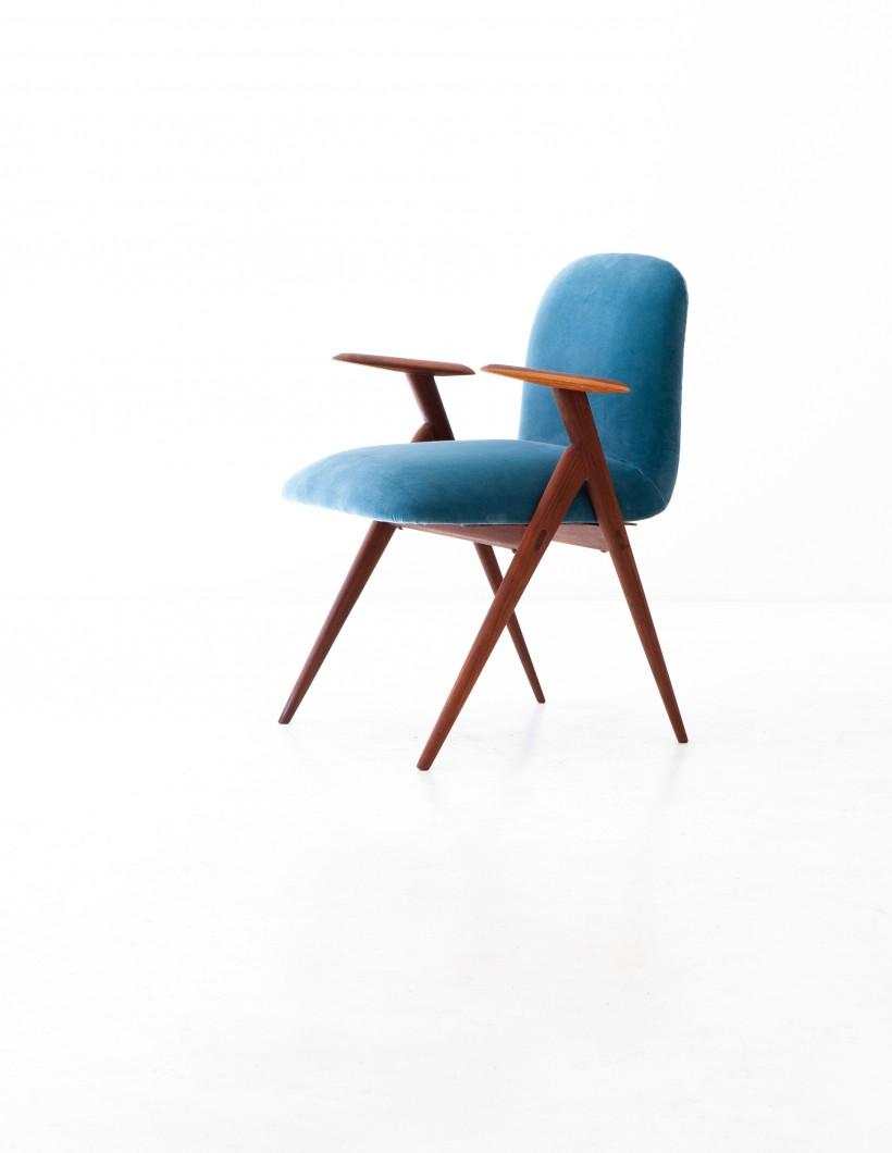 1950s , Blue Velvet and Rosewood Easy Desk Chair SE284