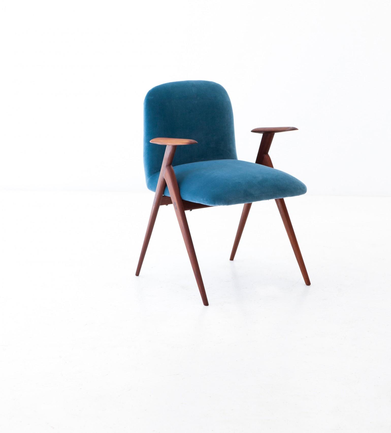 1950s , Blue Velvet and Rosewood Easy Desk Chair SE284 – Not available..