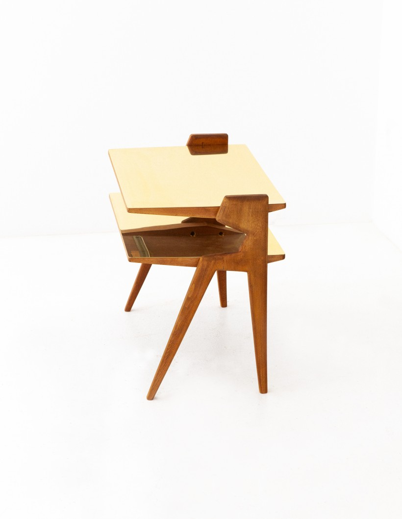 Italian Brass and Wood Two Levels Side Table T81