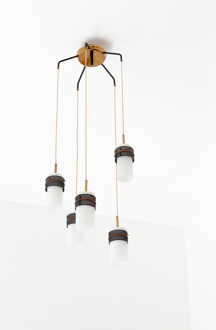 Italian Opaline Glass and Brass Five Arm Chandelier  L80 – Not Available