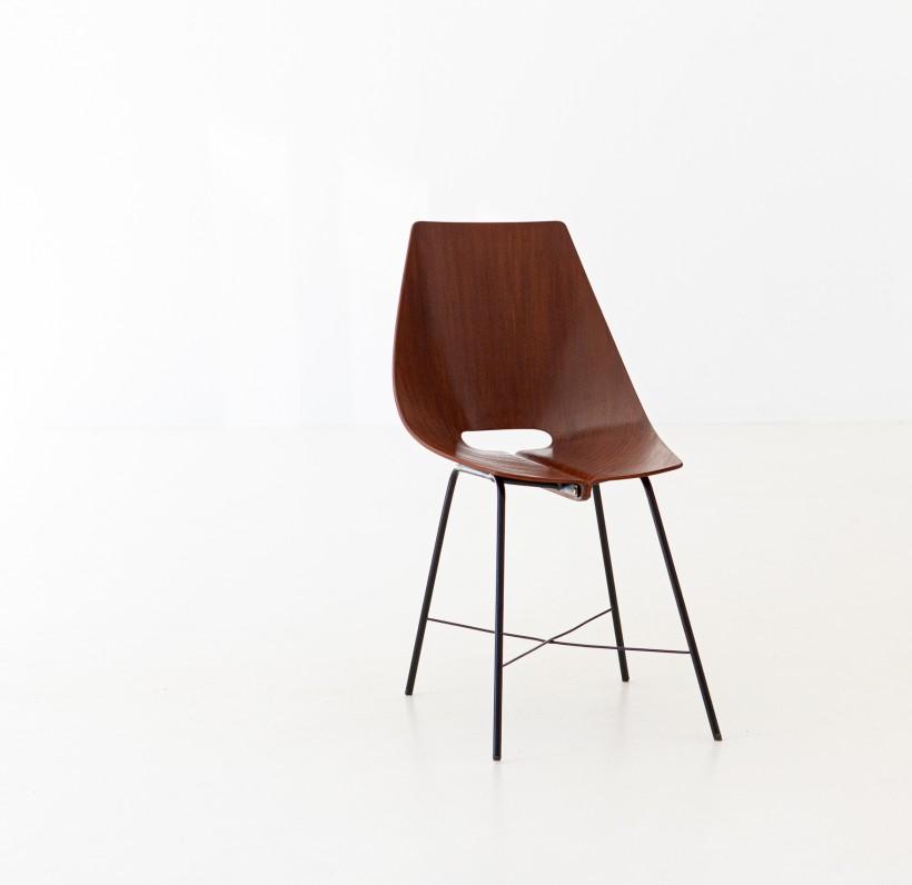 1950s Italian Curved Wood Chair  SE289
