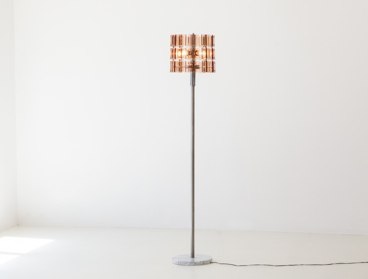 Italian Cognac Glass with Marble Base Lamp , 1970s L81