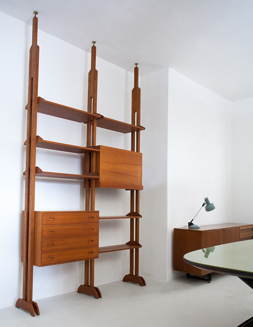 Italian Modern Teak Floor to Ceiling Wall Unit, 1950s WU36