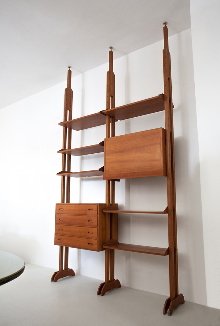 Italian Modern Teak Floor to Ceiling Wall Unit, 1950s WU36