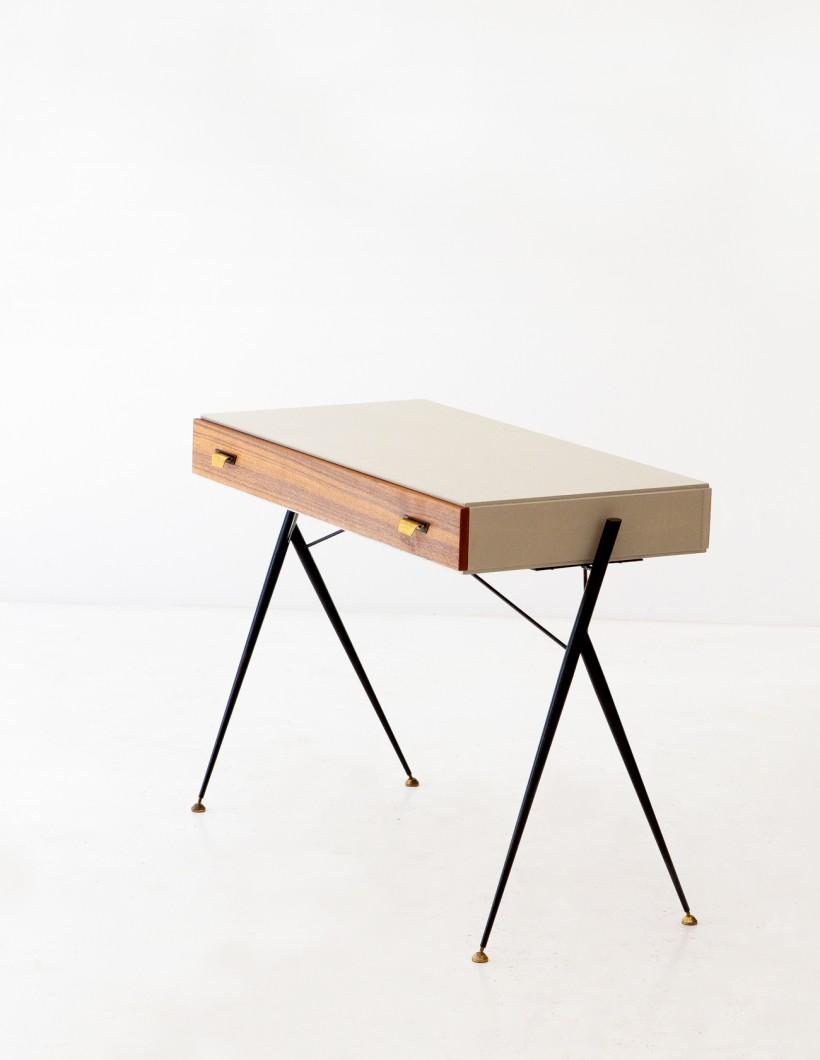 Italian Modern Teak and Black Iron Desk Table DT29