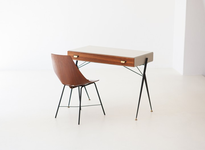 Italian Modern Teak and Black Iron Desk Table DT29 – Not available