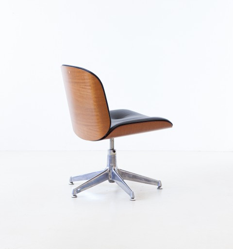 1960s Desk Chair with New Black Leather by Ico Parisi for MIM Roma SE337 – No longer available..