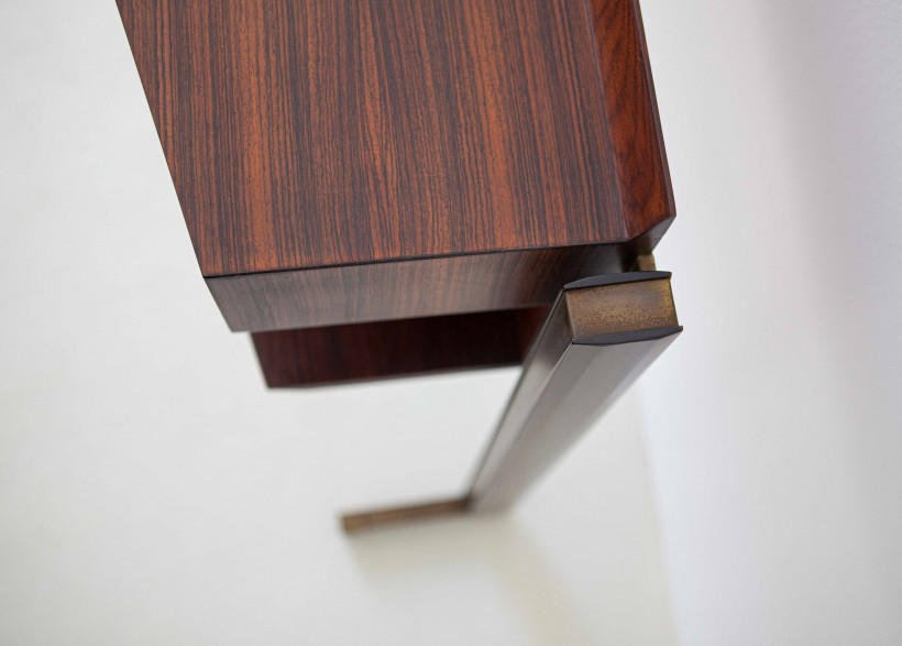 Italian modern rosewood and brass console table OF92