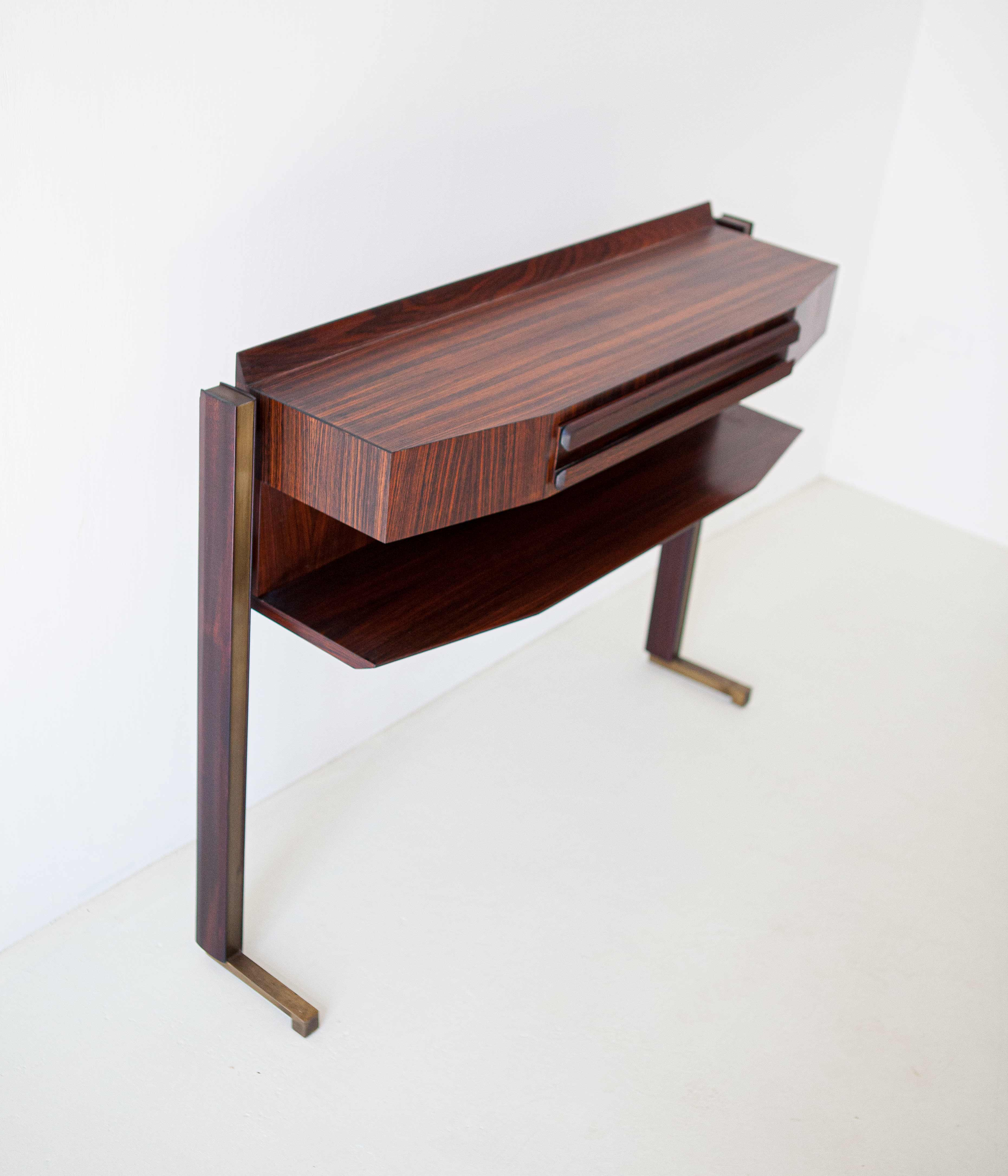 Italian-modern-rosewood-and-brass-console-table-5-of92