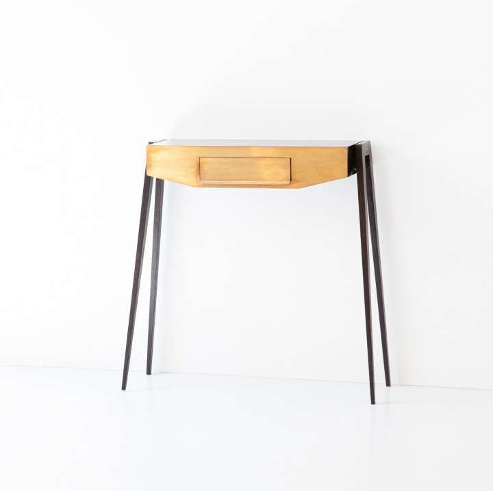 Modern Italian console in stained oak and brass