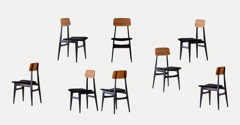 1950′ set of eight black leather and teak dining chairs SE293