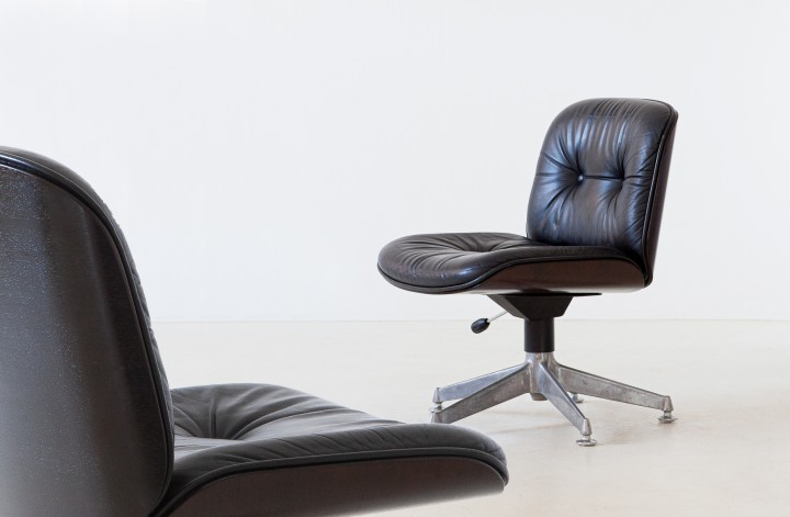 Pair of Natural Leather Office Chairs by Ico Parisi for MIM Roma, 1960s  SE326a – NOT AVAILABLE