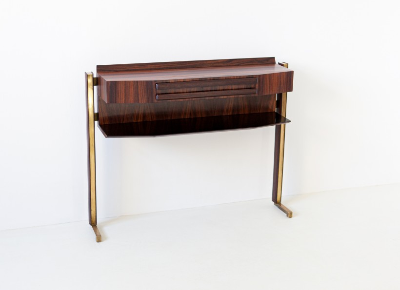 Italian rosewood and brass console table OF98