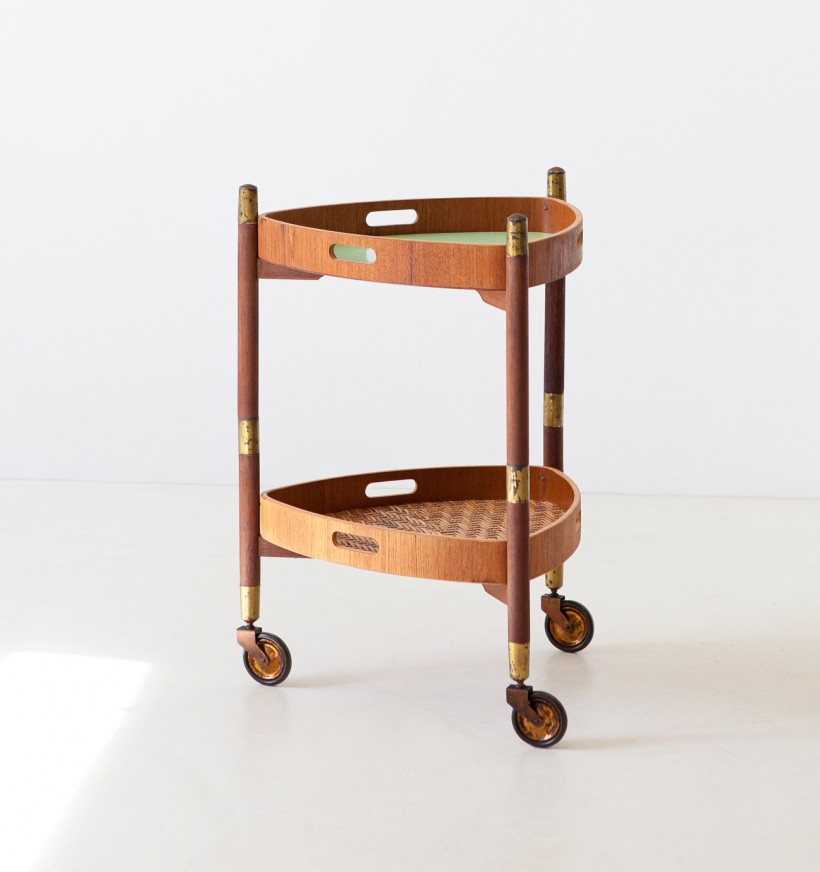 1950s teak and green formica service trolley OF100